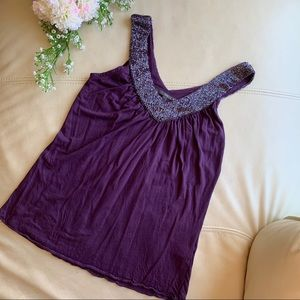 🍍2 for $10! plum beaded accent tank top